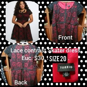 Torrid, black and red lace skater dress, size 20